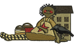 Rag Doll and House embroidery design
