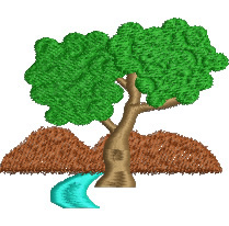 Tree and Mountain embroidery design