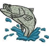 Leaping Barramundi embroidery design