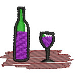 Wine Glass and Bottle embroidery design
