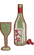 Wine Bottle and Glass embroidery design