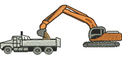 Truck and Tipper embroidery design