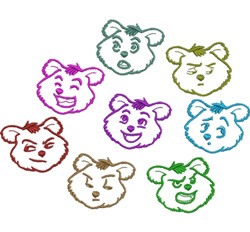 Bear Facial Expressions embroidery design
