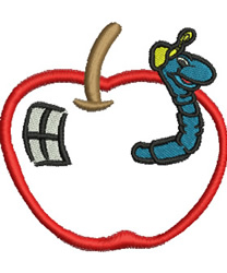 Worm in Apple Applique embroidery design
