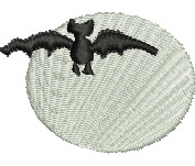 Bat in the Moonlight embroidery design