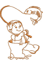 Boy Fishing embroidery design