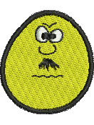 Mustachio Egghead embroidery design