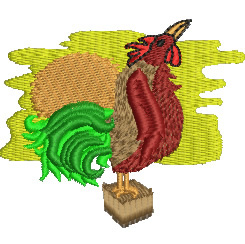 Rooster at Dawn embroidery design