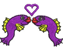 Kissing Fish embroidery design