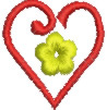 Heart & Flower embroidery design