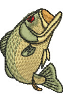 Open Mouth Bass embroidery design