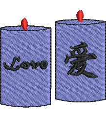 Love Candles embroidery design