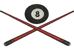 8 Ball with Cues embroidery design