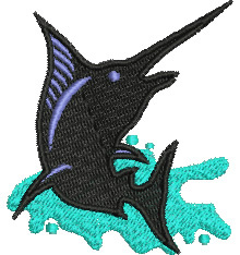 Black Marlin embroidery design