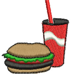 Burger and Drink embroidery design