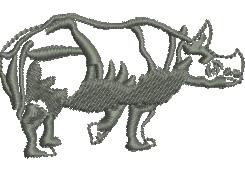 Rhinocerous embroidery design