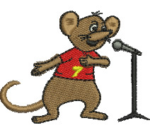 Mouse on Stage embroidery design