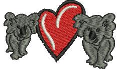 I Love Koalas embroidery design