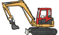 Excavator embroidery design