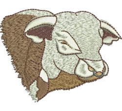 Hereford Bull embroidery design