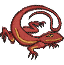 Brown Gecko embroidery design