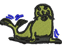 Happy Seal embroidery design