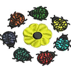 Ladybug Circle embroidery design