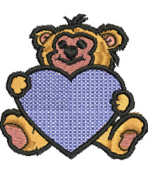 Teddy with Heart embroidery design