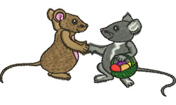 Mice with Eggs embroidery design