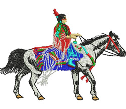 Indian on a Pony embroidery design