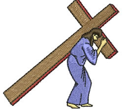 Jesus carrying cross embroidery design