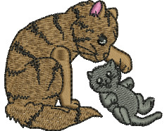 Cats Playing embroidery design