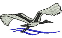 Flying Jabiru embroidery design