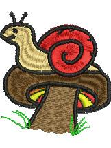 Snail on a Mushroom embroidery design