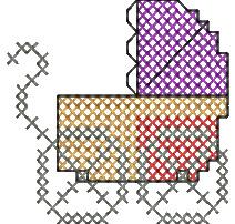 Cross Stitch Pram embroidery design