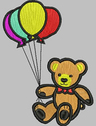 Teddy Bear and Balloons embroidery design
