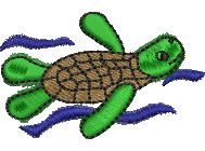 Turtle Swimming embroidery design