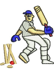 Cricketer embroidery design