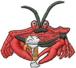 Beer Crab embroidery design