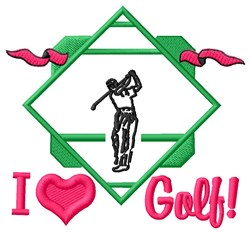 I Love Golf embroidery design