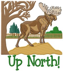 Moose Up North embroidery design