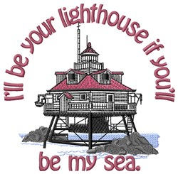 Sea and Lighthouse embroidery design