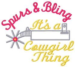 Cowgirls Spurs & Bling embroidery design