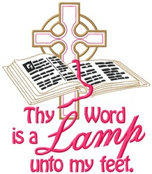 Bible Lamp & Cross embroidery design