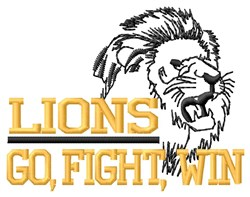 Lions Go Fight embroidery design