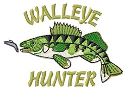Walleye Hunter embroidery design