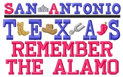 Remember Alamo embroidery design