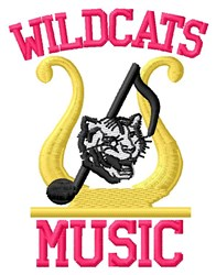 Wildcats Music embroidery design