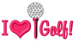 Love Golfing embroidery design