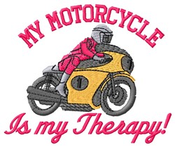 Motorcycle Therapy embroidery design